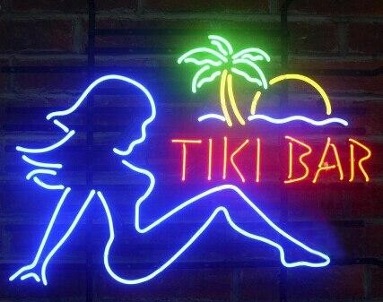 Tiki barre fille personnalisé bière Bar verre néon signe