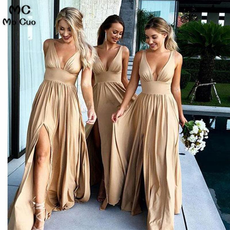 2018   Bridesmaid     Dress   Long Deep V-Neck Front Split Sleeveless Wedding Party   Dress   Custom Made Women   Bridesmaid     Dresses