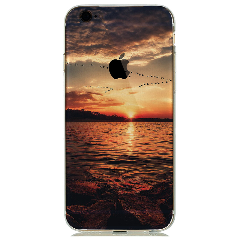Soft Natural landscape Rubbery Phone Cases for iphone 6 6s 5 5s SE Silicone Cover Effiel