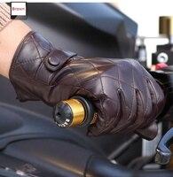 Winter Genuine Leather Glove For Men Short Black Suede Winter Glove Fashion S,M,L,XL Guante de cuero 1 Pair/lot