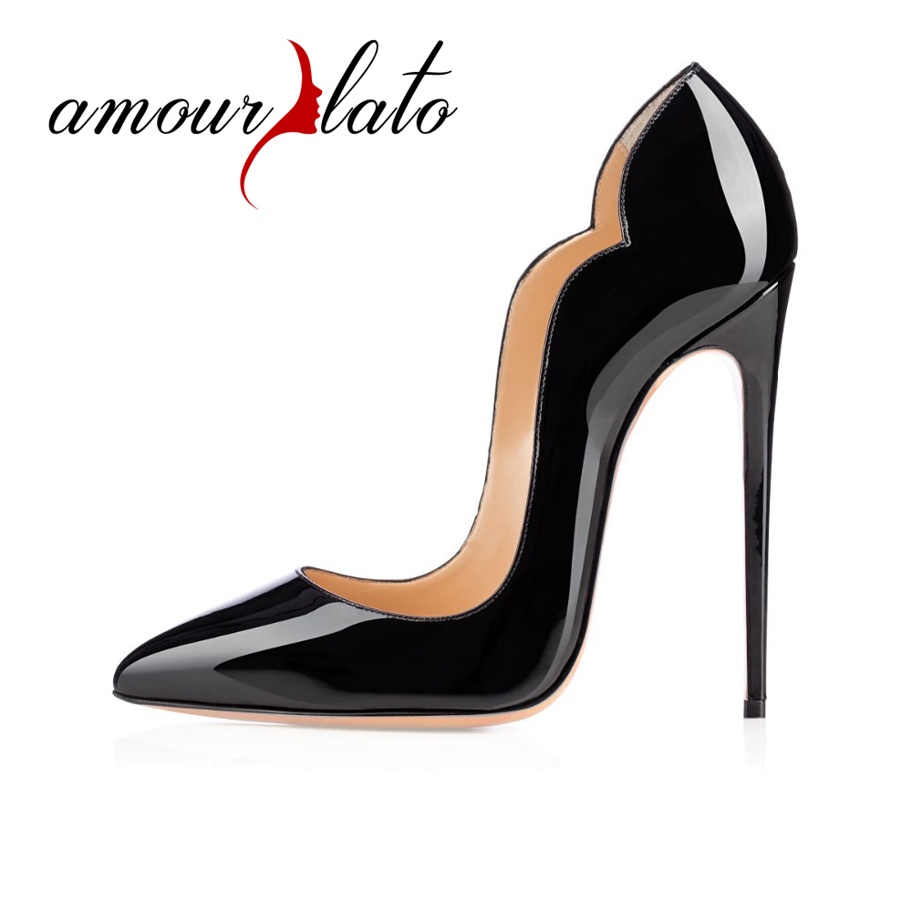 Amourplato Women Handmade Fashion 120mm High Heel Pointy Arch Trimmed Chick Style Pumps amourplato women s fashion pointed toe high heel sandals crisscross strap pumps pointy dress shoes black purple size5 13