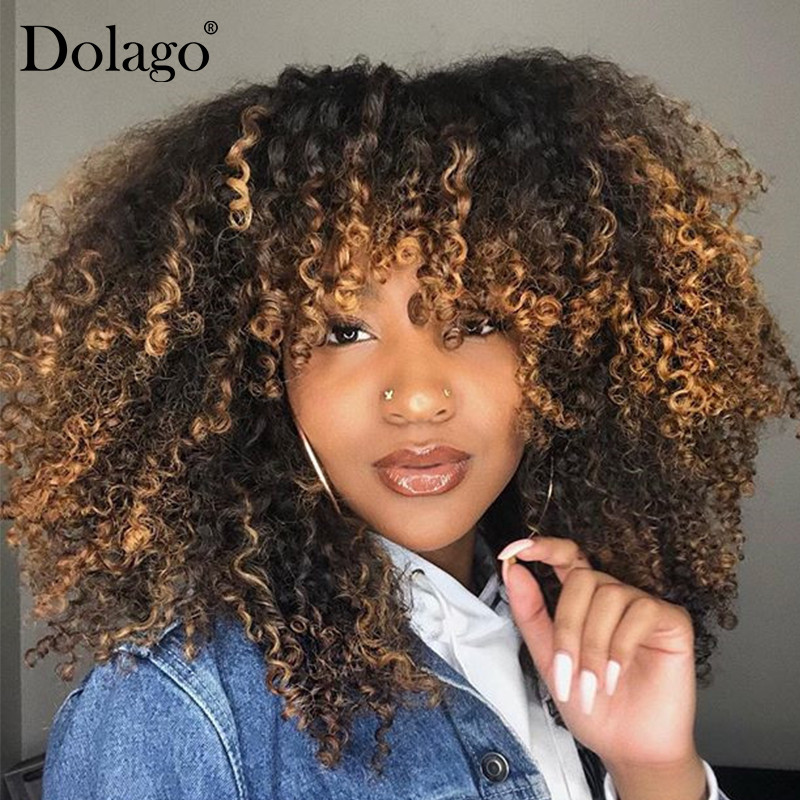 Blonde Afro Kinky Curly Wigs Colorful Ombre 4x4 Lace Closure Wig Short Bob Lace Front Human Hair Wigs T1B/4/27 Dolago Remy