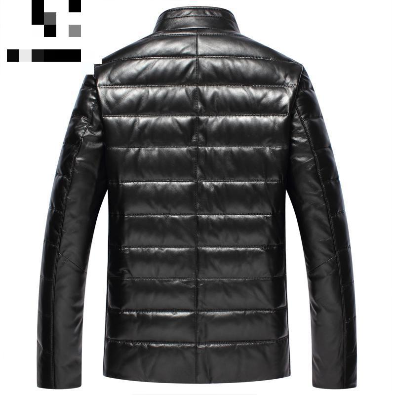 Leather Down Jacket Hot 2017 New Styles Leather Clothes Mens Standing Collar Sheep Skin Down Leather Jacket Slim Winter Coat