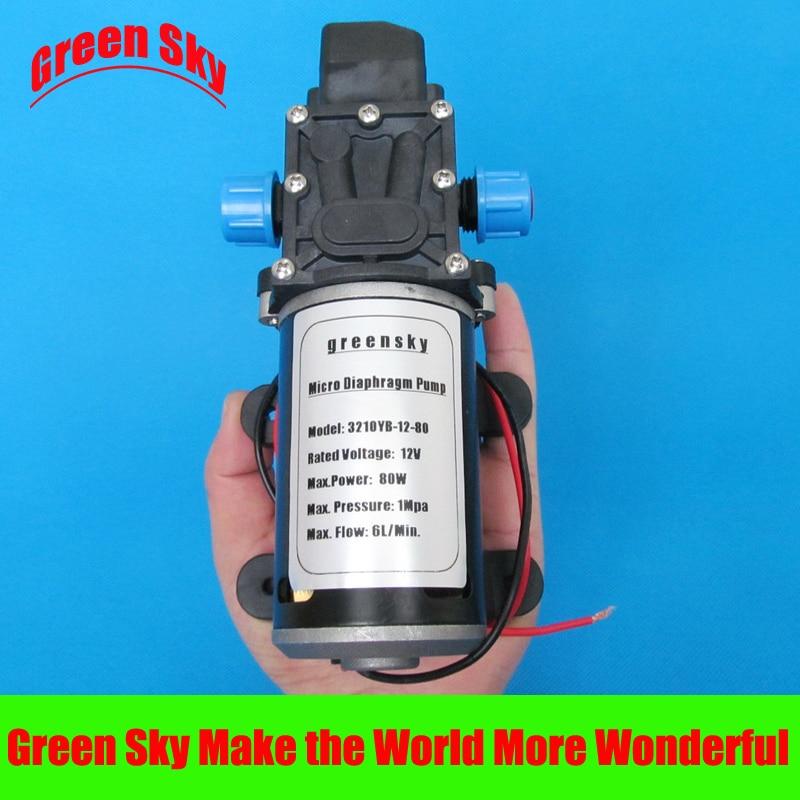 145PSI 6L/Min DC 80W 12v high pressure water pump 8 l min electric diaphragm 12v dc mini air pump brush