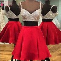 Двойка Homecoming платье 2016 пикантные красные Bling Пром коктейльное Платья для женщин Короткие вечерние платья Выпускной платье Z263