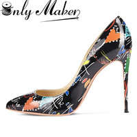 ONLYMAKER WOMEN S GRAFFITI HIGH HEEL 12CM SHOES POINTED TOE ARTIST DOODLE PRINT PUMPS BIG SIZE