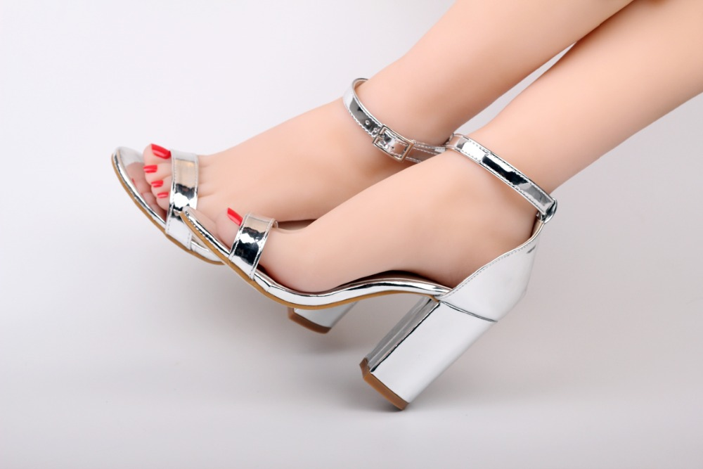 High Heels Silver Leather Ankle Strap Sandals