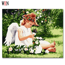 WEEN White Angel Painting By Numbers DIY HandPainted Girl Coloring On Canvas Art Pinturas Al Oleo Cuadros Decoracion