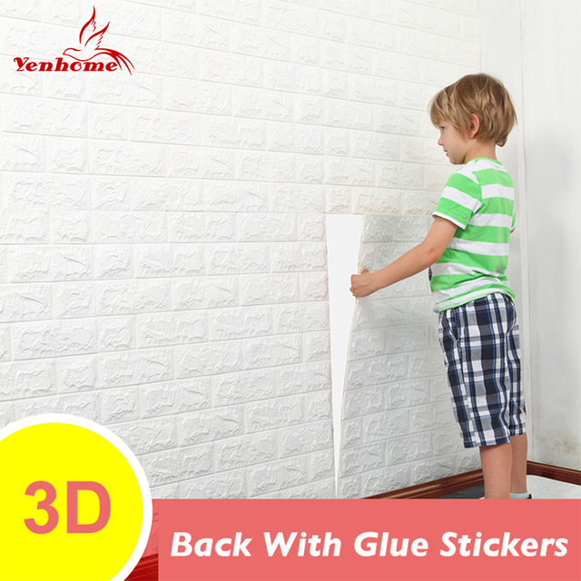 DIY Brick Wall 3D Sticker Living Room TV Background Decor Foam Waterproof Stickers Self