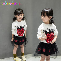 2PCS 2 6Years Spring Autumn Baby Girls Boutique Outfits Cute T Shirt Lace Skirt Korean Kids