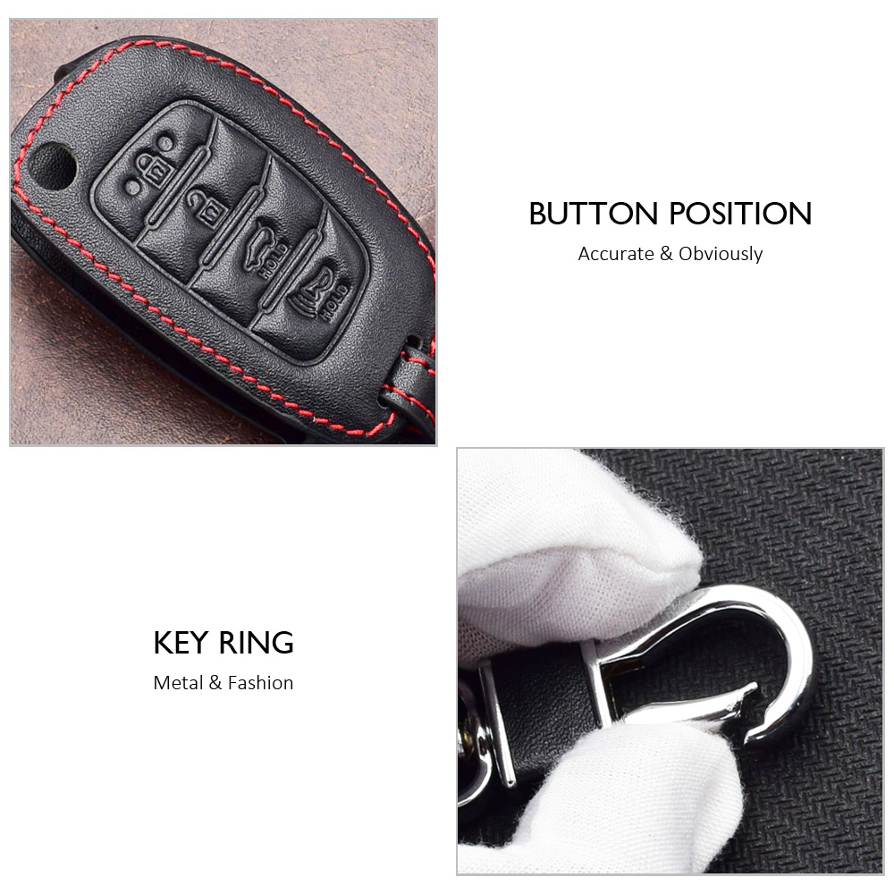 Genuine Leather Case Cover Fob Key Car Keys For Hyundai Sonata Santa Fe Tucson 4 Foldable Buttons Keys with Key Ring in Key Case for Car from Automobiles Motorcycles