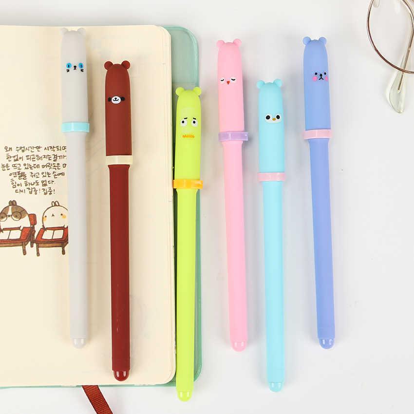 Корейская гелевая ручка с рисунком животных, Студенческая ручка для письма, черные чернила для ручки, канцелярские принадлежности для офиса