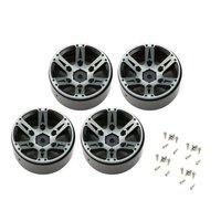 4pcs T power 1.9 Inch RC Tires Beadlock Alloy Wheels Hub Beadlock Rim Set for 1/10 RC Car RC Component Spare Parts Accessories