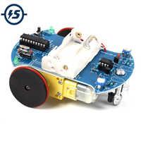 D2-2 DIY Kit de seguimiento inteligente línea de coche inteligente Suite Kit de AT89C2051 51 MCU producción electrónica inteligente de patrulla de piezas de automóviles