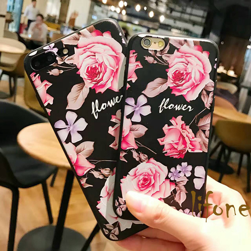 Ultra Slim 3D Relief Floral Peony flowers Soft Case For iPhone 7 6 6S Plus Phone Silicone Cover Back For iPhone 6 7 6S lina(China)