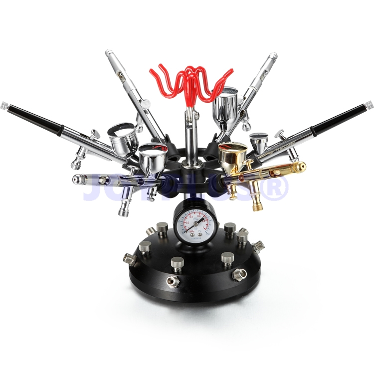 Multifunctional Airbrush Holder Support 6 Airbrushes with Pressure Gauge and Air Regulator ultimate body paint body makeup airbrush kit with 6 airbrushes and 12 custom body colors and airbrush holder