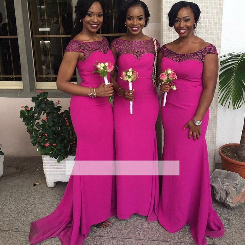 Cap Sleeves 2019 Cheap Bridesmaid Dresses Under 50 Mermaid Satin Lace Long Wedding Party Dresses For Women