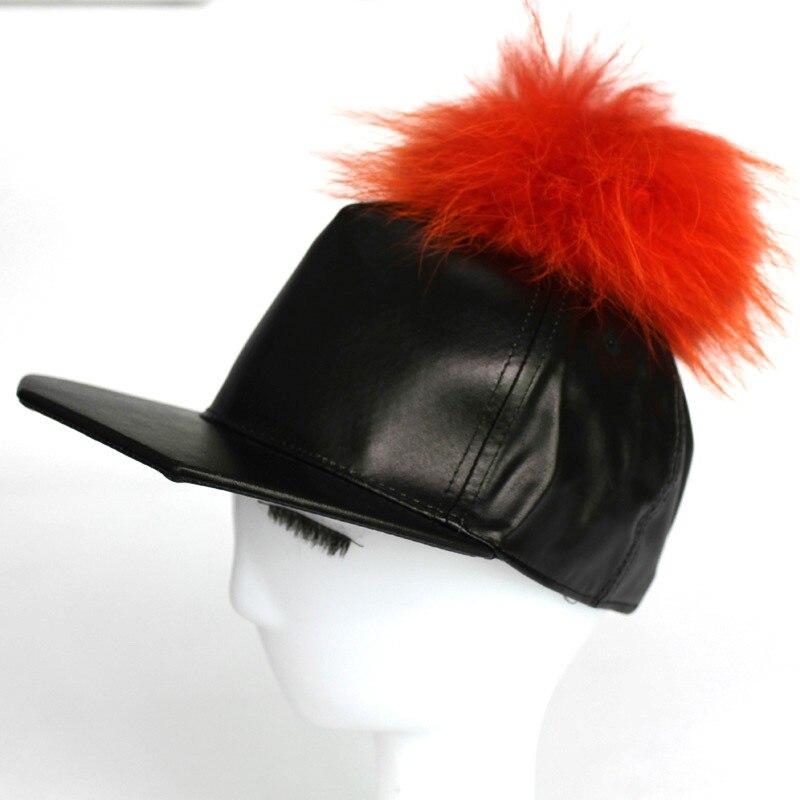 ea8b5e4b9cd FURANDOWN Fashion Women Snapback Hip Hop Hats PU Leather Baseball Caps Mens Real  Mink Pom poms Fur Ball Cap