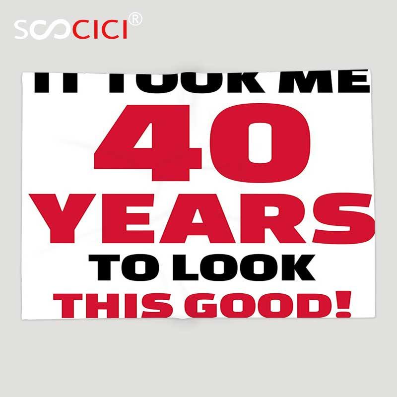 Couverture en molleton doux personnalisé 40th décorations d'anniversaire quarante ans et belle phrase de chat noir corail foncé