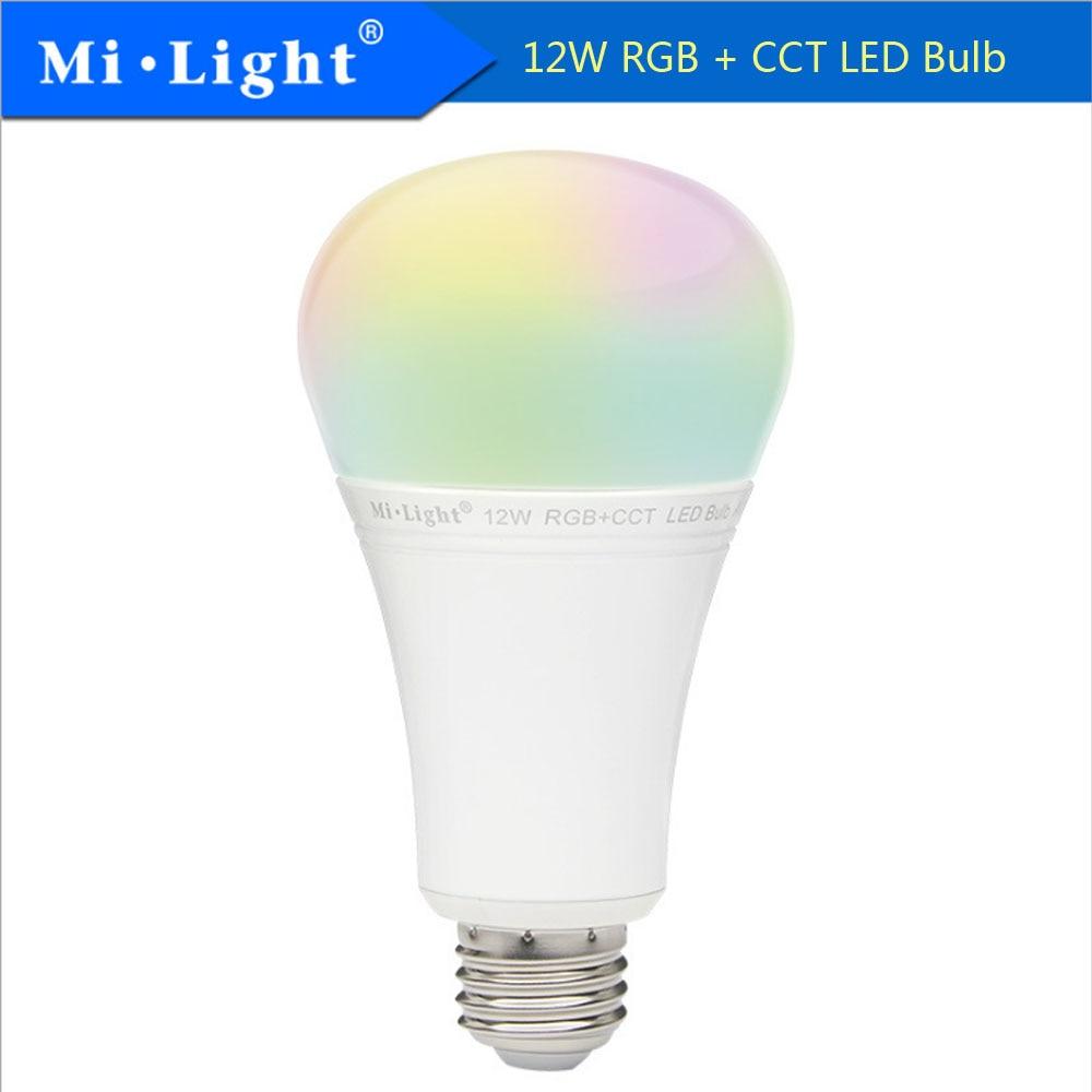 Milight FFUT105 12W RGB+CCT LED Bulb LED Spotlight 2.4G Led Bulb light Wireless Remote LED lamp AC100 240V Free Shipping