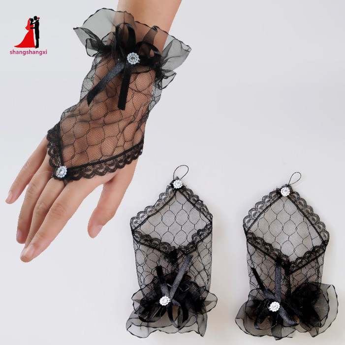 New Arrival Lace Wedding Gloves Fingerless Black Lace Gloves short yarn Black