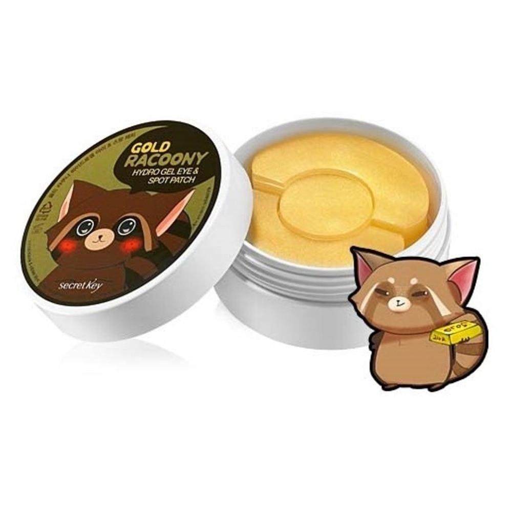 Sekret KEY Gold Racoony Hydro Gel Eye & Spot Patch 90pcs Eye Mask (sy 60pcs dhe copë spote 30 copë) Largues për kujdesin për sytë