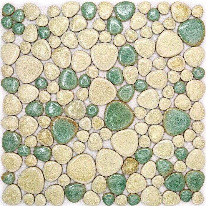 11pcs Porcelain Pebble Mosaic Tile Kitchen Backsplash Wallpaper