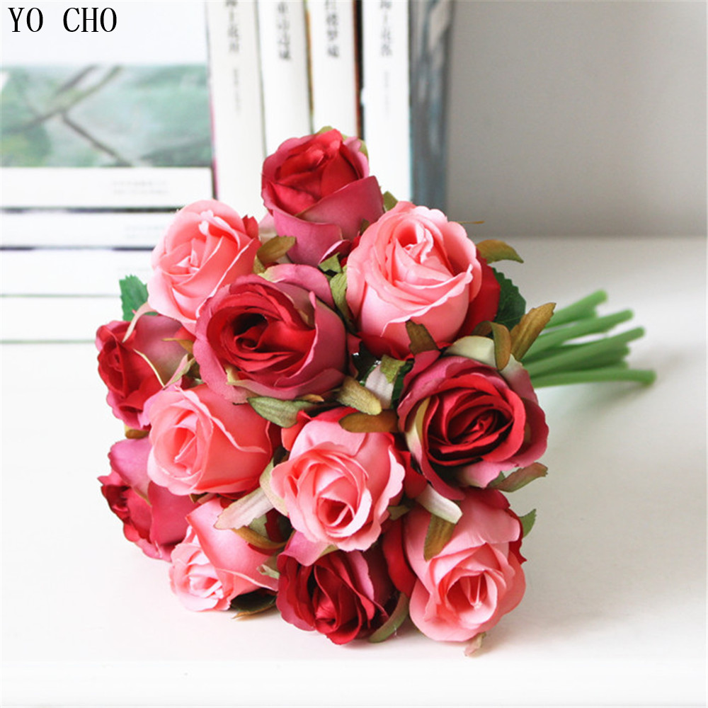 Whole Fake Artificial Bridal Wedding Bouquet Purple Rose Flower Party Decoration Red Silk Roses