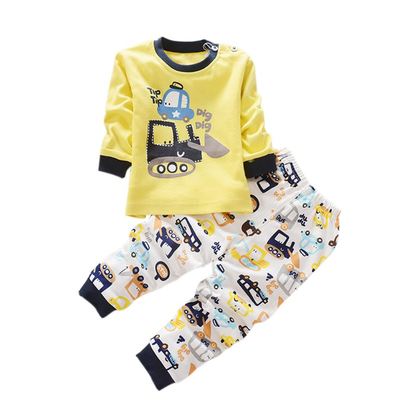 Hot Cute Cartoon 2pcs Infant Baby Boys And Girls Long Sleeve Shirt+Pants Toddler Pajamas Set Sportsuit 0-4Y LE7