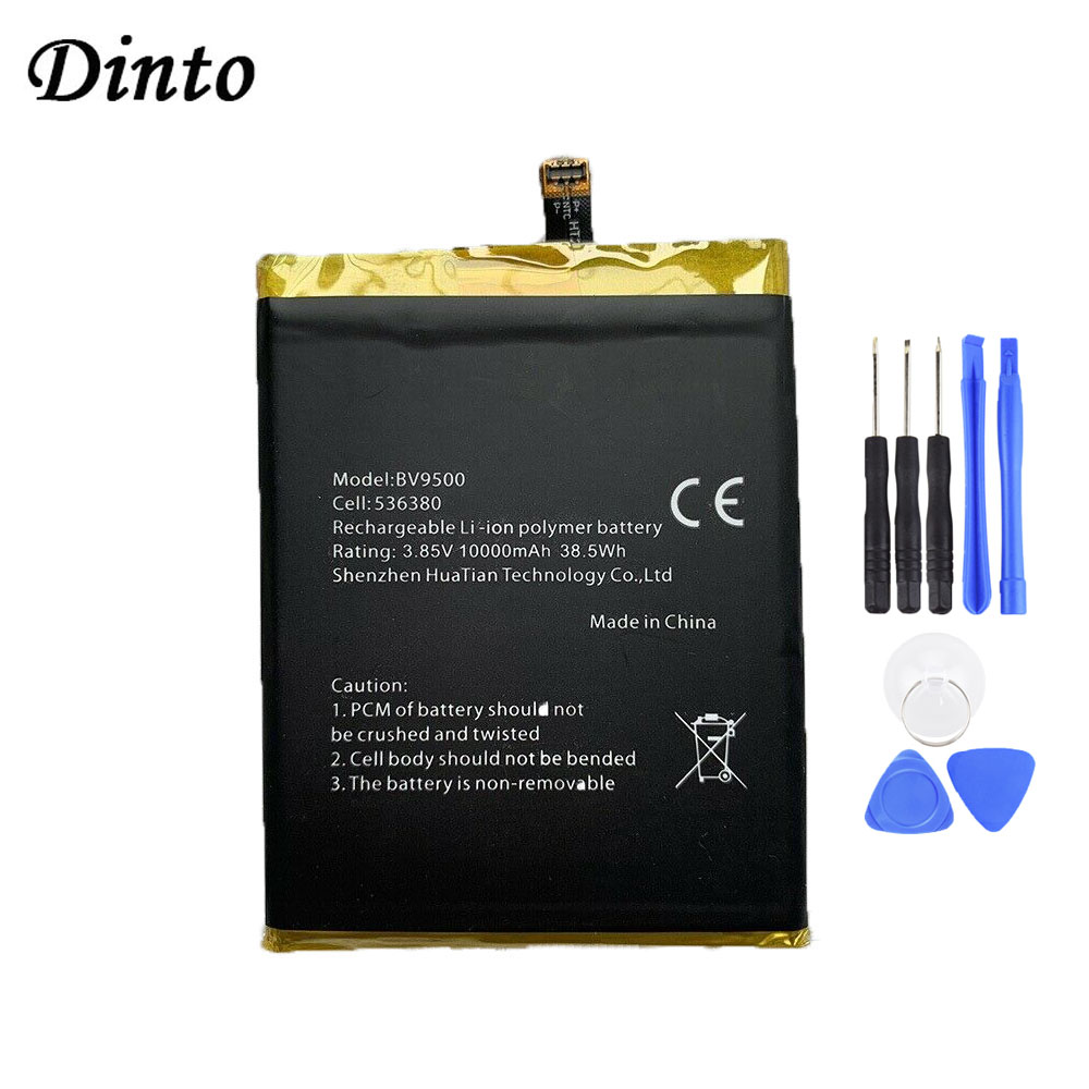 Dinto New 10000mAh Blackview BV9500 Battery Replacement Mobile Phone Batteries for Blackview BV9500 Pro + tools image