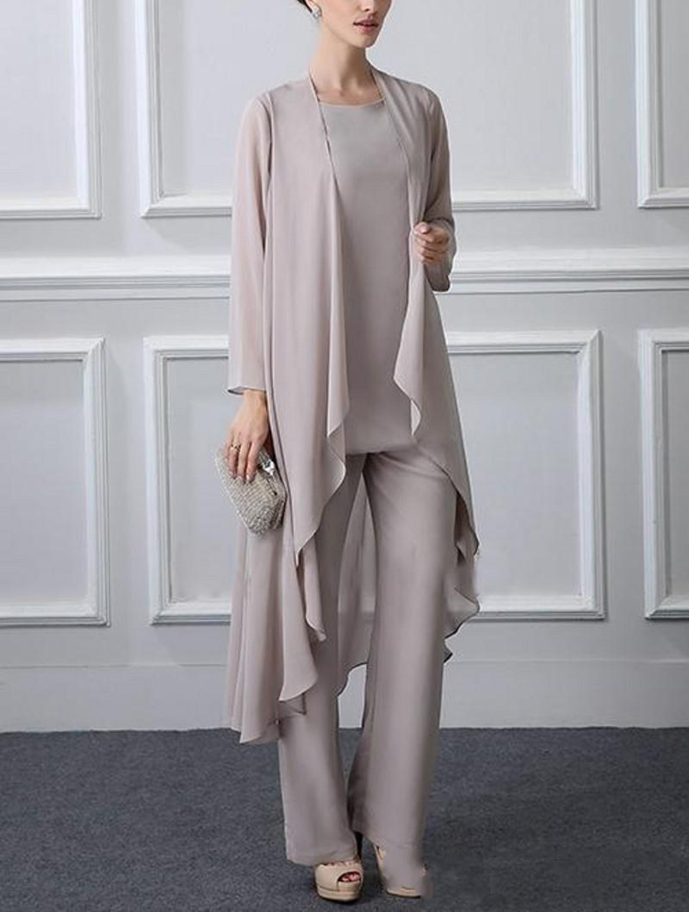 Women's 3 Pieces Elegant Ruffles Chiffon Mother Of The Bride Dress Pants Suit Long Sleeves With Jacket Outfit For Wedding Groom