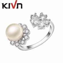 KIVN Fashion Jewelry Elegant CZ Cubic Zirconia Open Adjustable Simulated Pearl Rings for Women Mothers Birthday Christmas Gifts