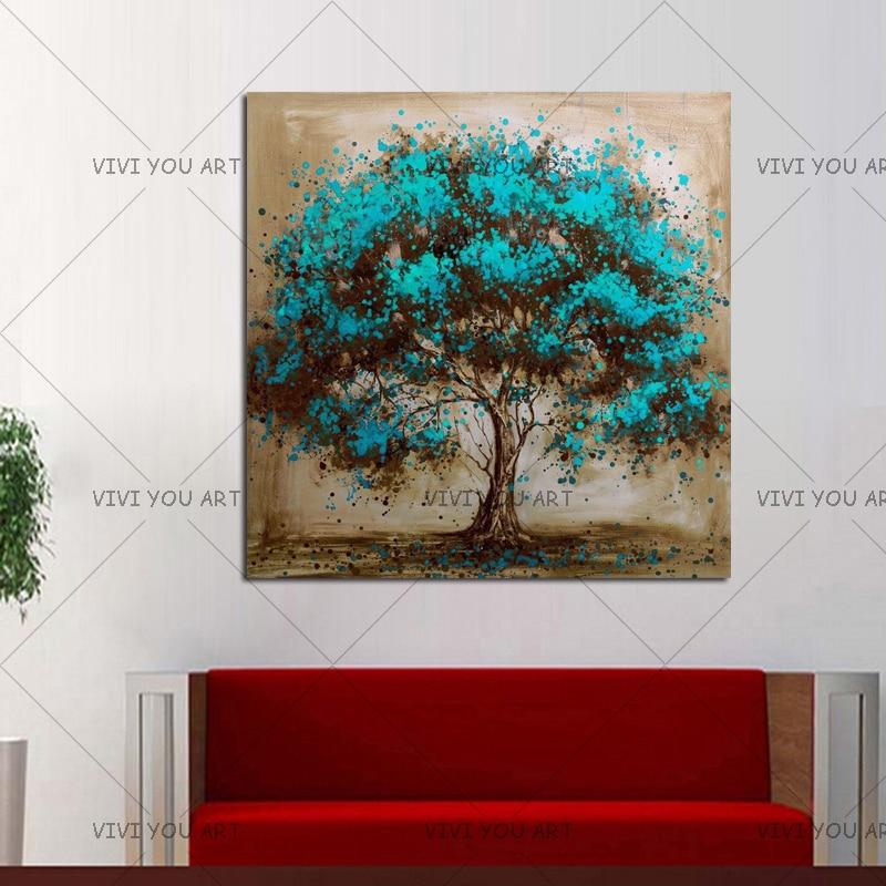 Piktura me dorë Moderne e Pemës së Kaltër Dekorimi i Naftës Ngjyrosje Në Kanavacë Peisazhi i punuar me dorë Wall Art Dekorimi i shtëpive
