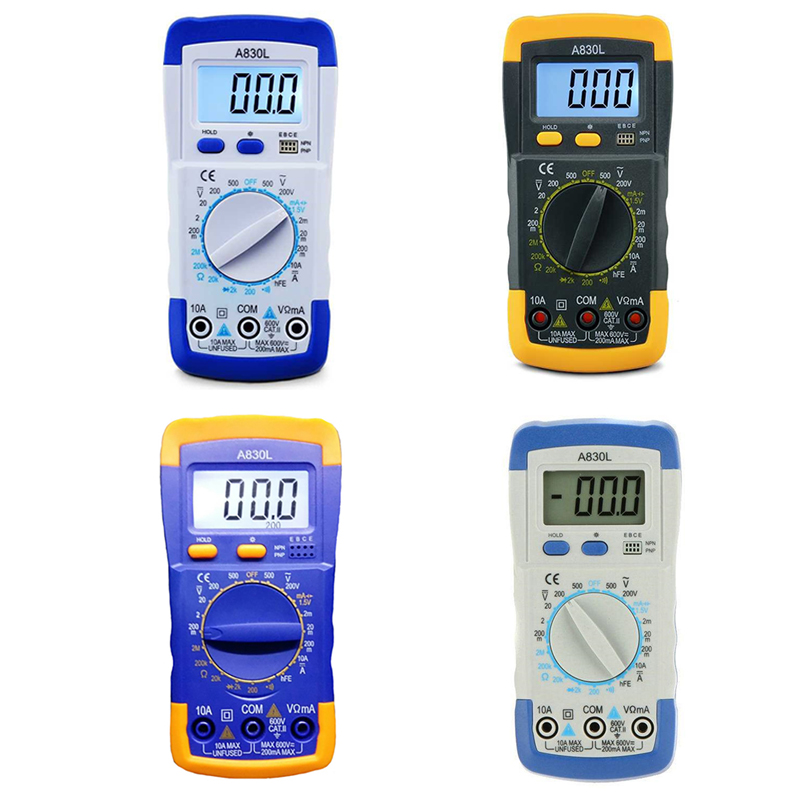 A830L LCD Digital Multimeter DC AC Voltage Diode Freguency Multifunction Volt Tester Test Current Voltmeter Ammeter Meter Gauges