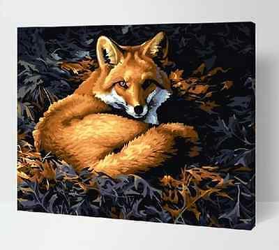 Peinture par numéro bricolage peinture à l'huile numérique 16 * 20 décor à la maison renard argenté