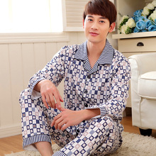 2016 Men's Autumn Comfortable Sleepwear Fashion Casual Pijama Turn-down Cotton Plaid Long Sleeve Men's Sleep & Lounge 141