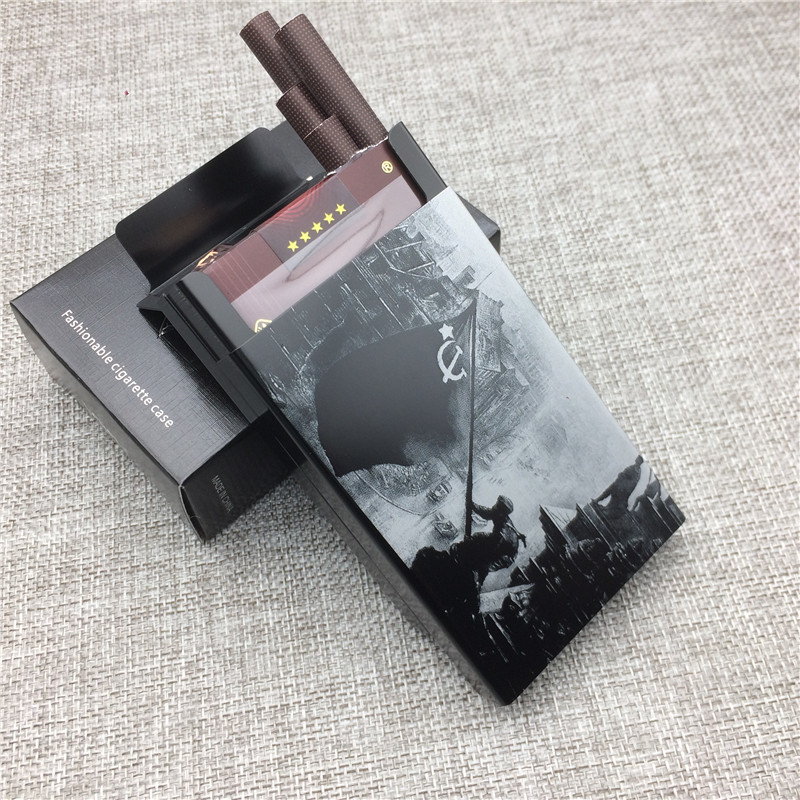 Conquering Berlin World War 2 Cigarette Case Aluminium Alloy Ultra-thin Male Metal Cigarette Boxes Laser Engraving Gift for Men image