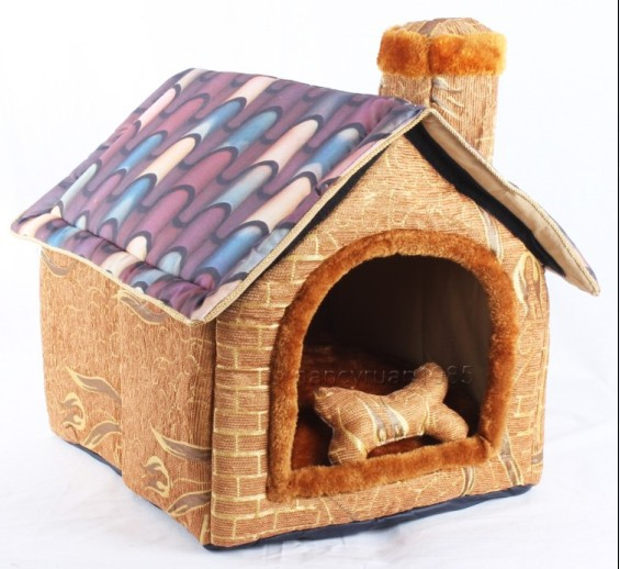 New Brick Wall Chimeny Pet Dog Cat House Beds Kennel Toy