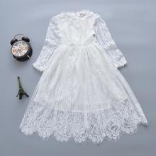 Модное детское платье для девочек белый одежда с длинным рукавом Кружева Принцесса Детские платье для девочек на свадьбу Вечернее платья для девочек