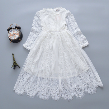 19fae152cfd0a 2019 Nouvelle Mode Enfants Filles Robe Blanc Manches Longues En Dentelle  Princesse Enfants Bébé Fille Vêtements De Mariage Robes De Soirée Pour Les  Filles