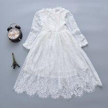 أزياء جديدة لعام 2019 فستان أبيض للفتيات بأكمام طويلة من الدانتيل للأميرة للأطفال ملابس زفاف للبنات فساتين سهرة للبنات
