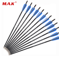 6/12/24 Pcs Mix Carbon Crossbow Arrow 17/20/22 Inches OD 8.8mm with 125 Grain Arrow Point for Archery Hunting Shooting