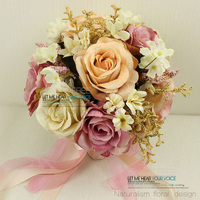 Новейшая модель; ручная работа; Новинка, платье подружки невесты, Свадебный букет невесты с романтическими цветами и зелеными листьями свад...