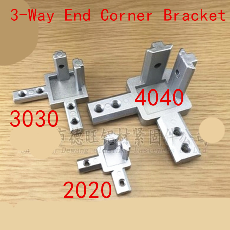 1pc 2020 <font><b>3030</b></font> 4040 Aluminum profile 3-Way End Corner Bracket Connector for T slot Aluminum Extrusion Profile with screws image