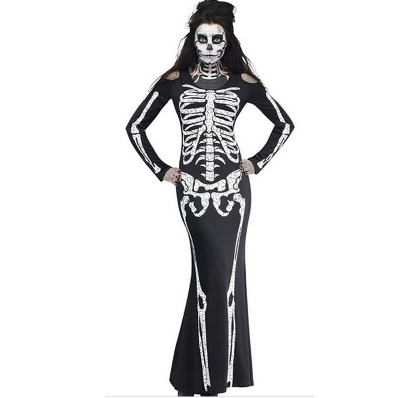 9f27e4c00c Halloween Long Dress Skeleton Print Scary Horror Costumes Play New Ghost  Clothes Strech Party Cosplay Dress Plus Size 2XL F3-in Scary Costumes from  ...