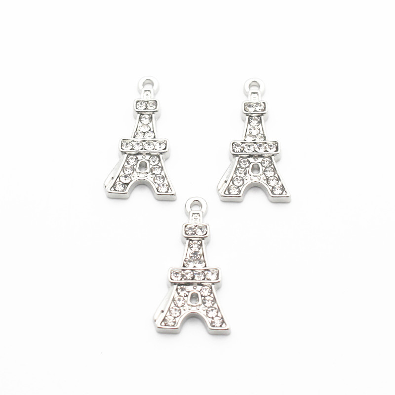20pcs lot Crystal Eiffel Tower Dangle Charms Lobster Clasp Hanging Charm For Pendant Bracelet Floating Charms Jewelry in Charms from Jewelry Accessories