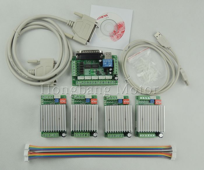 CNC Router 4 Axis Kit,TB6600 4 Axis mach3 Stepper Motor Driver Controller kit 4.5A + one 5 axis breakout board for nema23 motors