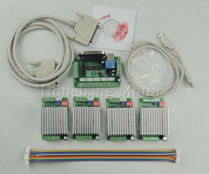 CNC Router Kit Eixo 4, TB6600 4 Eixo mach3 Stepper Controlador Driver de Motor kit 4.5A + um 5 eixo breakout board para nema23 motores