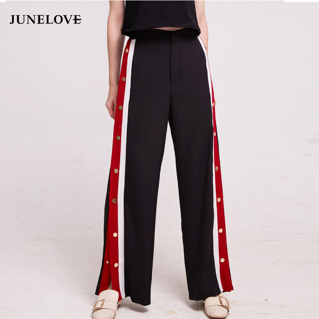 f49388618d JuneLove 2019 Autumn Winter wide leg Pants Women Button side Stripe street pants  Female Casual Patchwork