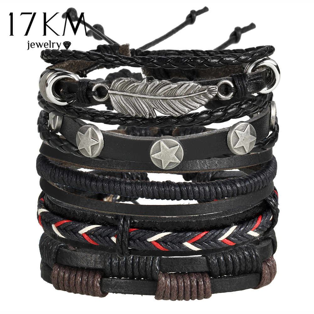 17KM Vintage Multiple Charm Bracelets Set For Men Woman Fashion Wristbands Owl Leaf Leather